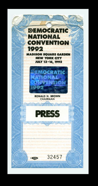 1992 democratic convention credential for roger barone
